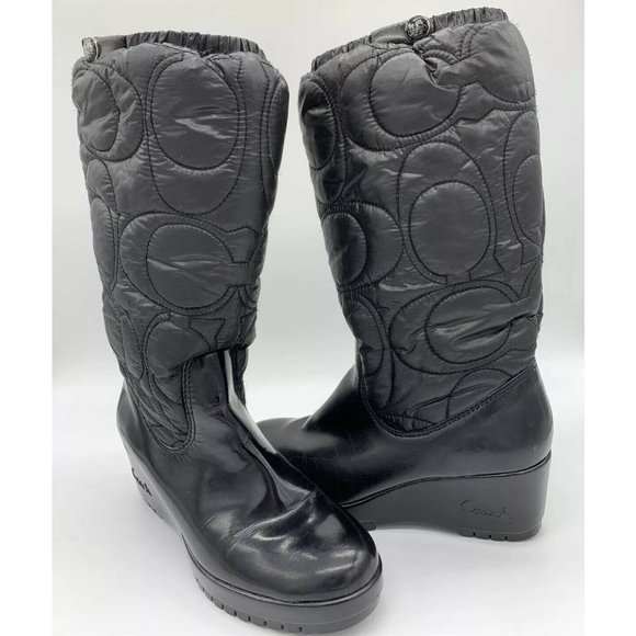 Coach Cantina Wedge Boots Quilted Big C Logo